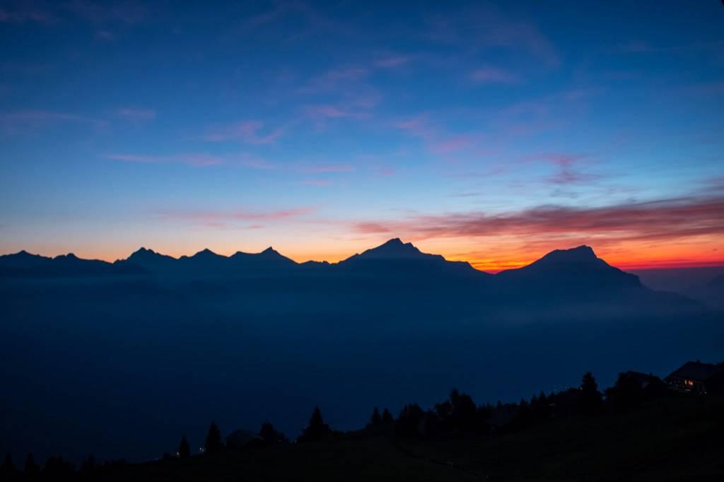 Sonnenuntergang von der Eggberge, Ferienwohnung Kreuzhang, Richtung Luzern, schöne Abendstimmung